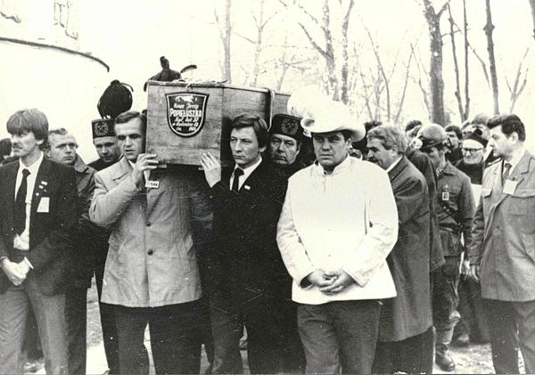 Funeral of Jerzy Popieluszko, a Catholic priest killed by Communist authorities Funeral Popieluszko Europeana (13).jpg
