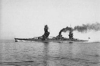 Fusō-class battleship - Fusō running full-power trials on 10 May 1933 after her first reconstruction