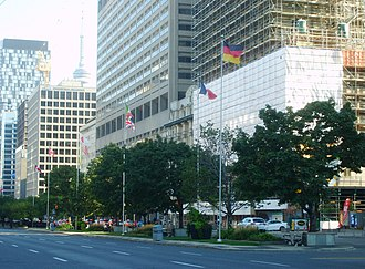 Group of Seven - Flags of G7 members as seen on University Avenue (Toronto)