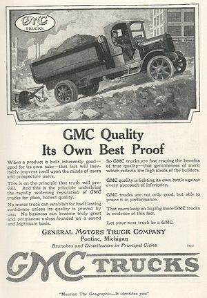 GMC (automobile) - GMC truck, from a 1919 advertisement