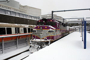Ruggles (MBTA station) - Orange Line and commuter rail trains at Ruggles