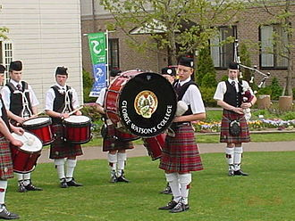 George Watson's College - The school pipe band at Sanix World Rugby Youth Invitational Tournament, Global Arena, Japan 2006