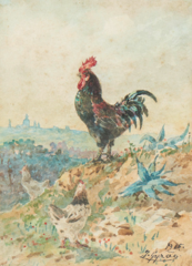 Rooster and view of Lisbon with the Basilica of Estrela in the background