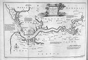 Alvise Cadamosto - Map of the Gambia River and surrounding area, c. 1732