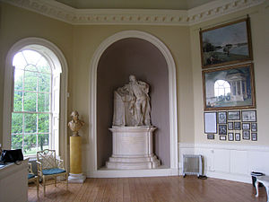 Garrick's Temple to Shakespeare - Interior of Garrick's Temple with a replica of Roubiliac's statue of Shakespeare, for which Garrick himself was the model