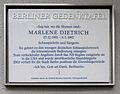 Gedenktafel Leberstr 65 (Schöb) Marlene Dietrich.JPG