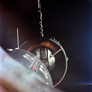 1966 in spaceflight - Gemini 8 about to dock with its Agena target vehicle, the first time two spacecraft dock in orbit.