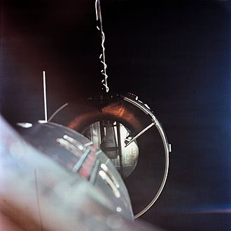 Space rendezvous - Gemini 8 docking with the Agena in March 1966