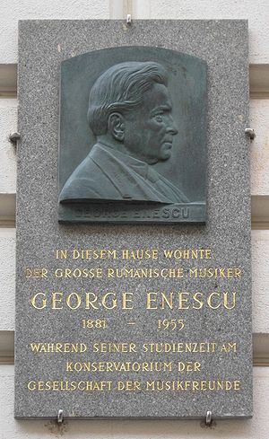 George Enescu, memorial plaque at his residenc...