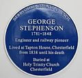 George Stephenson blue plaque, Chesterfield railway station.jpg