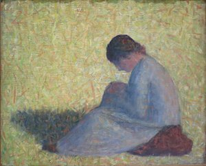 Still life paintings by Vincent van Gogh (Paris) - Georges Seurat, Farm Girl Sitting in a Meadow, c. 1882-1883, Solomon R. Guggenheim Museum
