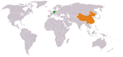 Map indicating locations of Germany and China