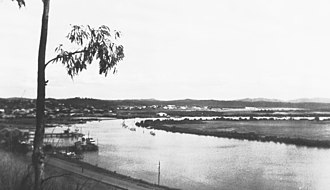 Gladstone, Queensland - 1950s view across Auckland Inlet before construction of power station.