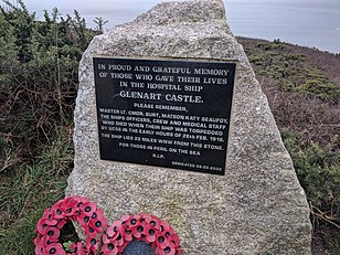 Photograph of the memorial stone to HMHS Glenart Castle