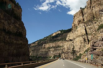 Interstate 70 in Colorado - Westbound I-70 on a viaduct inside Glenwood Canyon paralleling the Colorado River and former Denver and Rio Grande Western Railroad (now Union Pacific) main line