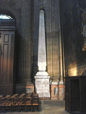 Gnomon of Saint-Sulpice - The obelisk portion of the gnomon of Saint-Sulpice Church, with the meridian line in the middle