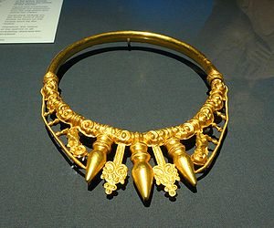 Glauberg - Gold Celtic torc found in the larger tumulus at Glauberg, 400 BC