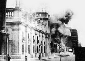 Chile - Fighter jets bombing the Presidential Palace of La Moneda during the Chilean coup of 1973