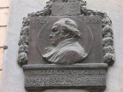 Plaque commemorating Francisco Goya's exile to Bordeaux