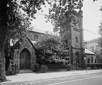 Harsimus - Grace Church Van Vorst, name for the prominent family Van Vorst, on Erie Street, named for the railroad