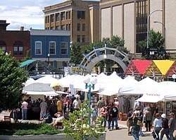 Town Square in downtown Grand Forks in June 2006.