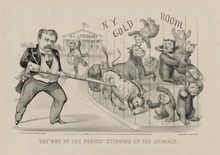 "Cartoon, entitled ""The 'Boy of the Period' Stirring up the Animals', shows Fisk poking bulls and bears and a man running toward them with a bag in his hand"