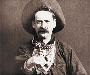 "Cinema of the United States - Justus D. Barnes, as outlaw leader, ""Bronco Billy Anderson"", from The Great Train Robbery (1903), the first western on film"
