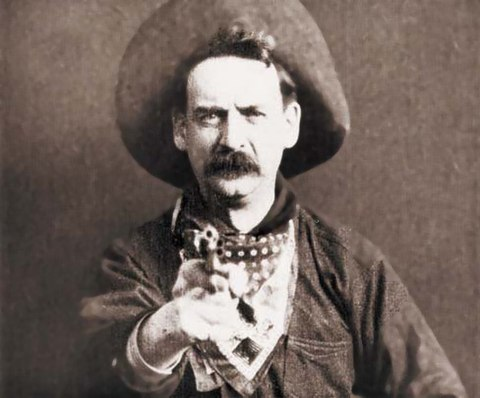 "Justus D. Barnes in Western apparel, as ""Bronco Billy Anderson,"" from the silent film The Great Train Robbery (1903), the second Western film and the first one shot in the United States. Great train robbery still.jpg"