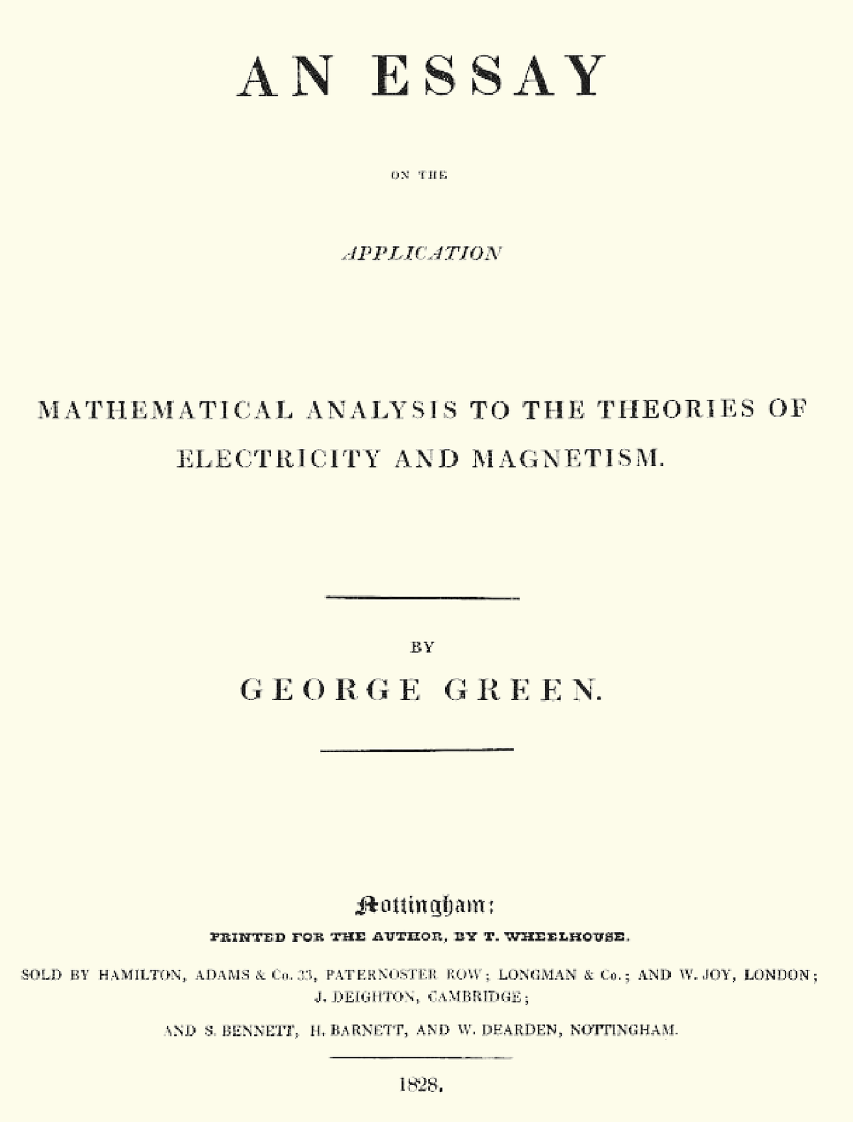 an essay on the application of mathematical analysis to the theories  an essay on the application of mathematical analysis to the theories of  electricity and magnetism   wikipedia