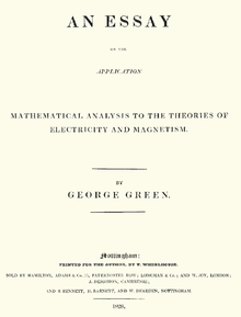 an essay on the application of mathematical analysis to the the title page to george green s original essay on what is now known as green s theorem it was published privately at the author s expense