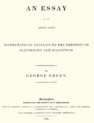 George Green (mathematician) - The title page to Green's original essay on what is now known as Green's theorem.