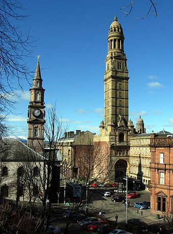 "View from above Cathcart Street over Cathcart Square to the Municipal Buildings, with the Victoria Tower to the right of ""Cowan's Corner"", and the Mid Kirk spire of 1781 to the left. Greenock muni blgs2.jpg"