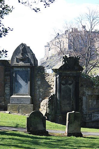 Greyfriars Kirkyard - Greyfriars Kirkyard with Edinburgh Castle behind