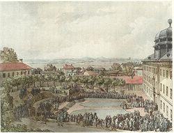 Gustav III tar emot universitets lärare och studenter 1786 i trädgården  bakom Gustavianum. Akvarell av Louis Jean Desprez. ed2ca0df2ed5b