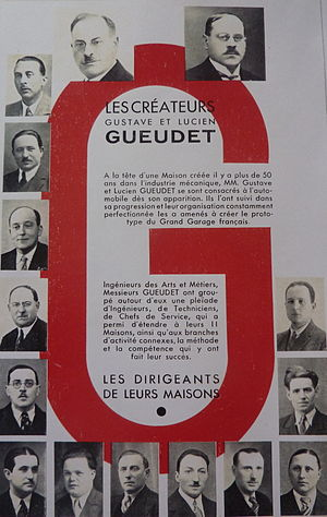 Gueudet - Gustave Gueudet, Knight of the Legion of Honor, and Lucien Gueudet invested in the automobile sector before 1920