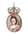 Hängsmycke av guld med miniatyrporträtt, 1700-tal - Hallwylska museet - 110571.tif