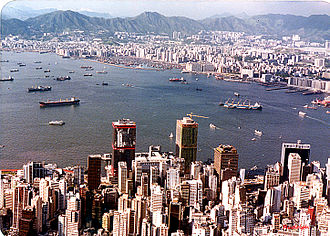 Yau Ma Tei boat people - Former Yau Ma Tei typhoon shelter (background) pictured in 1985.