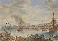 HMS Royal George on the Medway, with HMS Queen Charlotte under construction 1790.jpg