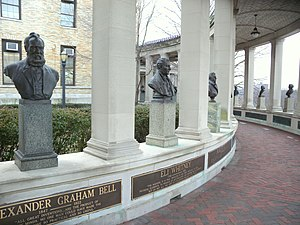 Hall of Fame for Great Americans - North wing of the Hall of Fame for Great Americans showing Alexander Graham Bell and Eli Whitney