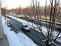 Haltestelle Alter Schlachthof an der Leipziger Straße in Dresden. Blick aus dem 1. Obergeschoss der Villa Leipziger Straße 27..jpg