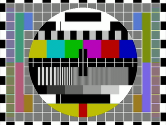 """Amateur television -  Test transmission signal for chrominance and luminance signals check using Pal D (delay line) encoding - colour """"hanover Bars"""" effect no longer visible."""
