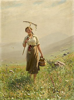 Hans Dahl - A young woman in the meadow (1894)