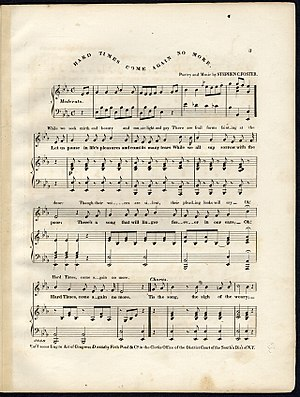 Hard Times Come Again No More - Original sheet music