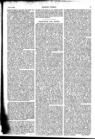 Blackburn B. Dovener - Image: Harper's Weekly Editorials by Carl Schurz 1898 01 15 Patronage and Money