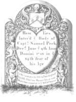 Headstone Capt Samuel Peck Rehoboth Massachusetts
