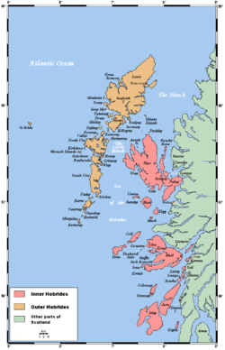 A map of the island chain of the Outer Hebrides that lie to the west with numerous other islands—the Inner Hebrides—closer to the mainland of Scotland in the east.