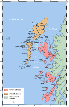 A map of the island chain of the Hebrides that lie to the west of the mainland of Scotland.