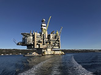 The Hebron oil platform, before being towed out to the Grand Banks Hebron Oil Platform, Newfoundland, Canada.jpg
