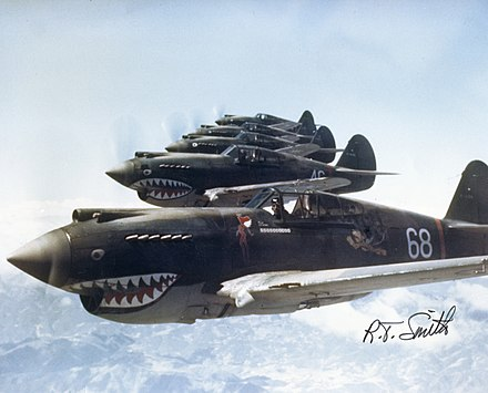 "P-40's of 3rd Squadron, 1st American Volunteer Group ""Flying Tigers"" flying over China, 28 May 1942 Hells Angels, Flying Tigers 1942.jpg"
