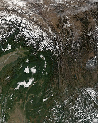Hengduan Mountains - Satellite view of the Hengduan Mountains